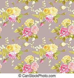 ぼろぼろ, 型, -, seamless, ばら, ベクトル, 背景, 花, シック, flower-