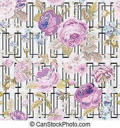 ぼろぼろ, 幾何学, 春, -, seamless, ベクトル, 背景 パターン, 花, シック, 花