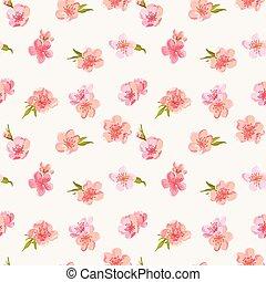 ぼろぼろ, 花, 春, -, seamless, ベクトル, 背景 パターン, 花, シック, 花