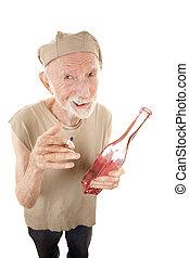 ぼろを着ている, タバコ, 酒, 年長 人