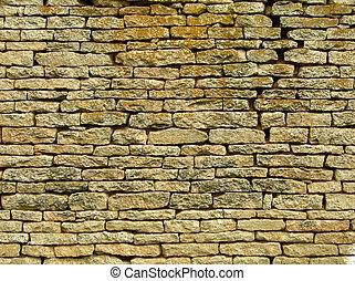 ぼろを着ている, 壁, れんが, 古い, 手ざわり
