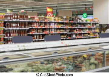 ぼんやりさせられた, 映像, の, 棚, ∥で∥, 商品, 中に, ∥, store., 缶詰にされた食糧, bread, sauces.