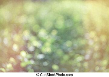 ぼんやりさせられた, 春, バックグラウンド。, 緑