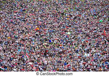 ぼんやりさせられた, 群集, の, 人々, 背景