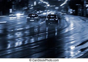 ぼんやりさせられた, 自動車, 運転, 上に, ぬれた, 道, 後で, rain., 夜, 都市, traffic.