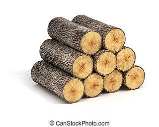 まき, 木材を伐採する, 山