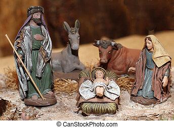 まぐさおけ現場, mary, nativity, 3, ヨセフ, イエス・キリスト, クリスマス