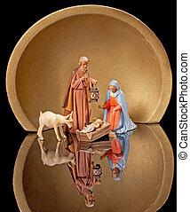 まぐさおけ, クリスマスのnativity, ヨセフ, 保有物, goat, ランタン