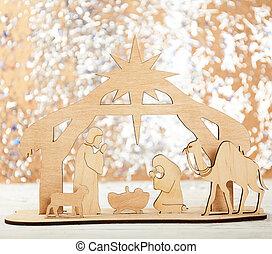 まぐさおけ, クリスマス場面, イエス・キリスト, nativity, ヨセフ, 赤ん坊, mary