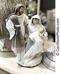 まぐさおけ, mary, 小立像, 現場, 含む, joseph., イエス・キリスト, クリスマス