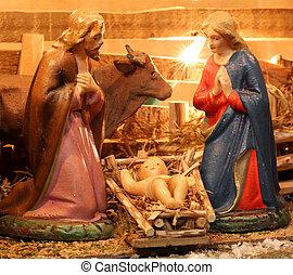 まぐさおけ, nativity, 家族, 神聖, 現場