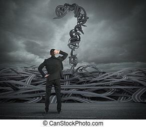 まさしく, 選択, レンダリング, crisis., ビジネスマン, 困難, 3d