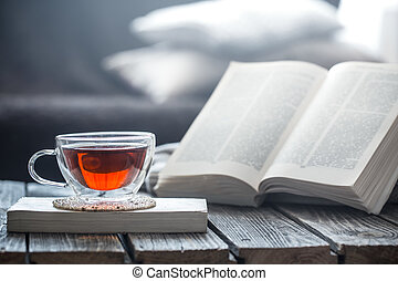 まだ, お茶, 生活, 本, カップ