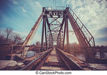 まっすぐな 羽毛, 橋, 見る, 列車