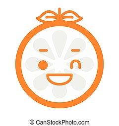 まばたき, -, 隔離された, vector., オレンジ, 幸せ, smile., emoji