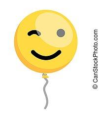 まばたき, balloon, smiley, 目