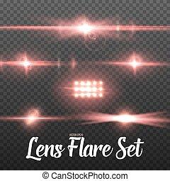 まぶしい光, 太陽, set., 効果, レンズ, 現実的, ベクトル, 火炎信号, 透明