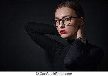 めがねをかける, 若い女性, 肖像画
