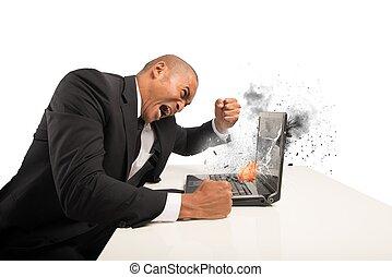 もたらされる, ストレス, コンピュータ, 欲求不満