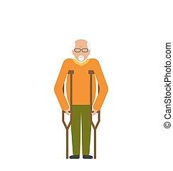 もっと年がいった男, ∥で∥, crutches., 不能, 年配, 祖父