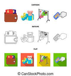 もっと, 贈り物, 漫画, ボタン, 他, カード, アイコン, アイコン, もの, collection., 財布, セット, 網, クレジット, アウトライン, style., 平ら, セール