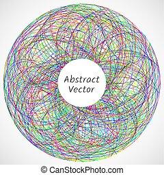 もつれさせる, 抽象的, ライン, 円, consisted