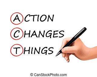もの, 書かれている手, 言葉, 行動, 変化する, 3d