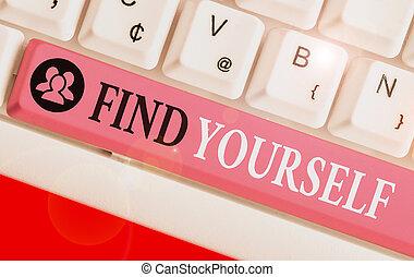 もの, yourself., なる, 執筆, ファインド, 概念, ビジネス, selfsufficient, テキスト, 単語