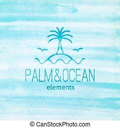 やし, カモメ, 島, ロゴ, 波