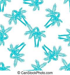 やし, ベクトル, pattern., seamless, 木
