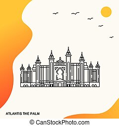 やし, ポスター, 旅行, atlantis, テンプレート