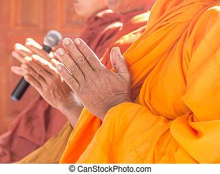 やし, 一緒に, 修道士, 手, タイ人, 祈る, 挨拶