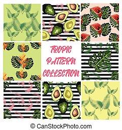 やし, 熱帯の花, paradis, パターン, 緑は 去る, 鳥, 木, seamless, アボカド, ハイビスカス