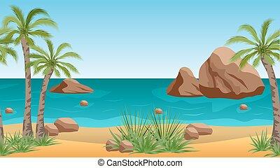 やし, 背景, 現場, 岩, トロピカル, やし, 海, 浜, 風景