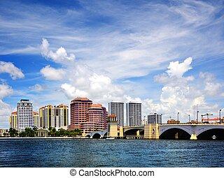 やし, 西, スカイライン, 浜, フロリダ