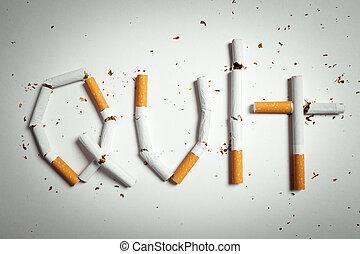やめられる, 壊される, 取り決められた, 単語, タバコ