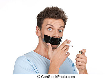 やめられる, 彼の, 保有物, バックグラウンド。, テープ, 成人, より軽い, 喫煙, 人, 口, 白, つらい,...