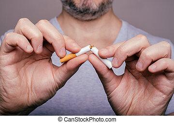 やめられる, 押しつぶすこと, -, 手, 喫煙, マレ