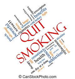 やめられる, 概念, 単語, 斜め, 喫煙, 雲
