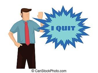 やめられる, 概念, resignation., 働き過ぎ, ビジネスマン, 彼の, 欲求不満, job., 不十分である, ∥あるいは∥