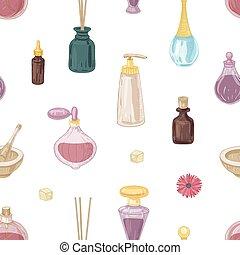 よい香りである, はり付く, びん, 優雅である, 化粧品, すりこぎ, スタイル, パターン, seamless, バックグラウンド。, 引かれる, 白, 香水, 包むこと, イラスト, 手, ガラス, モルタル, paper., incense, ベクトル, 型