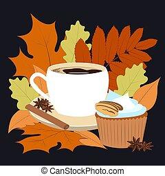 よい香りである, 概念, マフィン, 年, cinnamon., オレンジ, fall., おいしそうである, アニス, -, warms, vector., 黄色, コーヒー, イラスト, 赤, 香辛料, 葉, autumn., 明るい, 私達, 層にされる, 時間