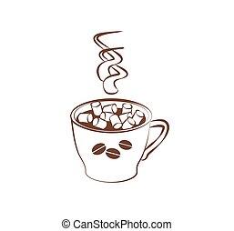 よい香りである, house., ココア, 醸造された, おいしい, マシュマロ, design., 着色, メニュー, バックグラウンド。, 暑い, 白コーヒー, 保温カバー, 飲みなさい, 本, イラスト, チョコレート, カード, ベクトル, 小さい, ∥あるいは∥