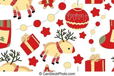 よい, お祝い, pattern., seamless, クリスマス, 年, spirit., 新しい, atmosphere.