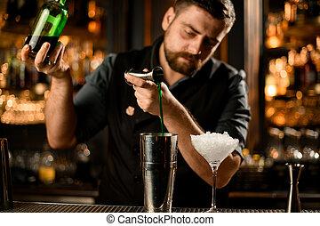 よい, アルコール, バーテンダー, 流れ, 振りかけ式容器, ジッガ