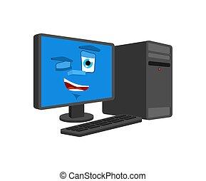 よい, コンピュータ, isolated., まばたき, プロセッサ, pc, ベクトル, 漫画, データ, style., 幸せ