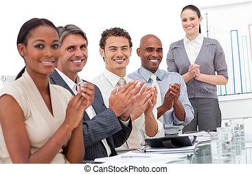 よい, チーム, 拍手喝采する, プレゼンテーション, ビジネス, 幸せ