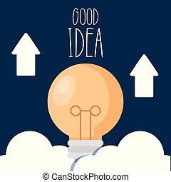 よい, ライト, 矢, 考え, の上, 電球