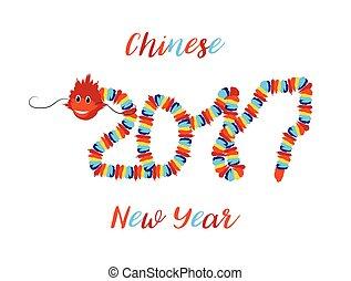 よい, 中国のドラゴン, シンボル, アジア人, 年, 新しい, 運