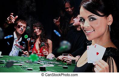 よい, 人々, 若い, casino., 持ちなさい, 時間